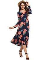 пляжные платья оптовых-Zeagoo Женщины с круглым вырезом 3/4 рукава с цветочным принтом Летняя повседневная вечеринка Flowy Midi Beach Dress