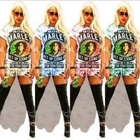 Wholesale cut off shirts for sale - Group buy Women s Bob Marley Letter Long T shirt Dress Irregular Cut off Holes T shirt Summer Printed Short Sleeve Skirt hip hop Rock streetwear C5901