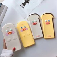 Wholesale pencil apple for sale - Group buy Korean version of cartoon ghost funny duck For Huawei Samsung XiaoMi student pen cosmetics pencil bag multi function coin purse