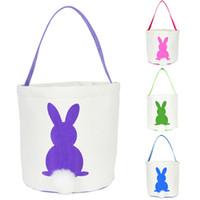 conejitos conejos al por mayor-Conejo de Pascua Cesta Conejito de Pascua Bolsos Conejo Impreso Lienzo Tote Bag Caramelos de huevo Cestas 4 colores OOA3960