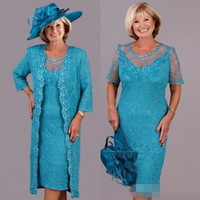 Turquoise Lace Plus Size Mother Of the Bride Dresses with Lace Jacket Custom Make Tea-length Mother Formal Wedding Party Gown