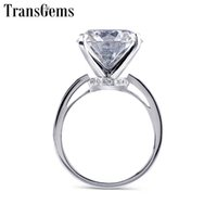 ingrosso anello in oro bianco 14k pietra preziosa-Transgems Big Gemstone Center 14mm 10ct Carati Moissanite Anello di fidanzamento per le donne Nozze Genuine 14k White Gold Ladies Ring J 190427
