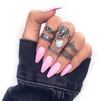 Wholesale elephant mix for sale - Group buy 7 set Women Fashion Elephant Flower Gems Retro Geometric Carved Silver Ring Set Bohemian Charm Jewelry Accessories Gift
