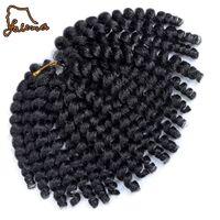 trenzado de cabello mezclado al por mayor-FALEMEI 80g 10inch 2X rebote jamaicana rizado cabello giro tresse ganchillo trenzas extensiones varita rizo trenzado de cabello 20strands / pack