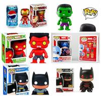 figuras de vengadores batman al por mayor-Funko POP The Avengers Películas Hulk Capitán América Batman figura de acción de Thor Iron Man con la caja original buena calidad de los juguetes de la muñeca de Dobby