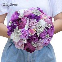 gelin düğün buketi mor toptan satış-Kristal Mor Düğün Çiçek Yapay Düğün Gelin Buketi Nedime Buketleri Takı Leylak Lavanta Güller Broş Gelin Buketi Tutucu