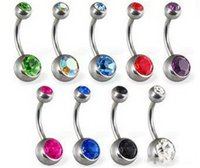 Wholesale women ring designs for sale - Group buy New design women belly button ring Crystal Rhinestone Belly Button ring Body Jewelry umbilical ring