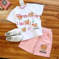 Wholesale spring boy pictures resale online - Boys girls Two piece set print outfits stripe lovely pictures top Letter printing shorts summer high quality kids Clothing Sets sup er14