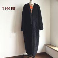 ingrosso giacca di pelliccia di maglia del visone-Maglia Genuine Mink cachemire X lungo cappotto di moda reale visone cachemire lungo rivestimento della pelliccia signora Sweater Heavy Cardigan KFP968