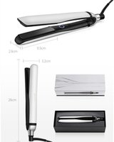 Wholesale hair iron uk resale online - 9hd platinum Professional hair straightener straightening irons Black white color EU UK US plug with retail box DHL shipping