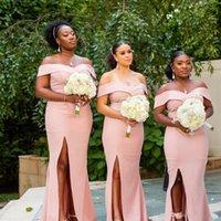 sirena vestidos de noche ee. al por mayor-Más el tamaño de las damas de honor sudafricanas vestidos de sirena rosa fuera de los hombros Split Maid of Honor Vestidos de boda Invitado noche de baile usa BM0372