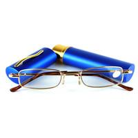 ingrosso mini occhiali da lettura-Uomini e donne Pen Pocket Occhiali da lettura Contenitore portatile in lega Presbiopia Ultralight Mini pieghevole in vetro da lettura Invia con scatola TR207