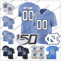 marineblaue orange fersen großhandel-Benutzerdefinierte North Carolina Tar Heels 2019 UNC Fußball jeder Name Nummer Blau Navy Weiß # 6 Cade Fortin 7 Sam Howell NCAA 150TH Jersey