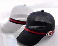 chapeau de béret homme bleu achat en gros de-Casquette de baseball en métal avec lettrage pour femmes et hommes, nouveau bonnet de printemps et d'été, chapeau de soleil en ruban rouge et bleu, sport en lin respirant