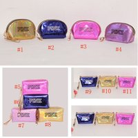 Wholesale cosmetic barrel bag for sale - Group buy PINK Laser Cosmetic Bag Waterproof Makeup Bags Styles Women Laser Flash Diamond Leather Bags for Beauty