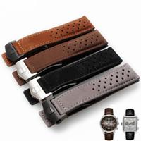 кожаный ремешок оптовых-Genuine Leather Scrub Watch Strap 22mm Breathable Cow Leather Watch Band Folding Clasp Brown Black Accessories Bracelet