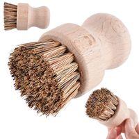 Handheld Wooden Brush Sisal Palm Dish Bowl Pan Cleaning Brushes Round Handle Pot Brush Kitchen Chores Rub Cleaning Tool