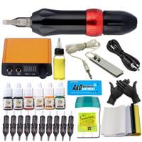 Wholesale tattoo kit pen ink for sale - Group buy Professional Rotary Pen Tattoo Kit Color Immortal Machine gun Inks Set LCD Mini Power Cartridge Needle Equipment Supplies