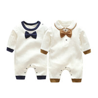 Wholesale boys baby gentleman tie clothing for sale - Group buy Retail Newborn baby cotton Gentleman Bow Tie rompers long sleeve jumpsuit one piece jumpsuits toddle infant kids designer clothes