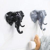 pantalla de suspensión de bolsa al por mayor-Cabeza de elefante Animal Puerta de pared Ropa Gancho Pantalla Bastidores de almacenamiento Percha autoadhesiva Bolsa Llaves Soporte adhesivo Decoración creativa