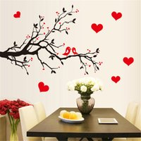 Wholesale red wall art for bedroom for sale - Group buy Red Love Heart Wall Stickers Bird Decal Bedroom Living room DIY Removable PVC Art wallpaper Beautiful home decor branches