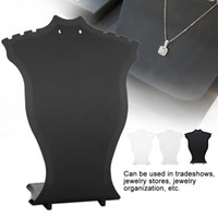 supports d'affichage boucle d'oreille achat en gros de-Bijoux Présentoir Pendentif Collier Chaîne Titulaire Boucle D'oreille Buste Présentoir Vitrine Rack Noir Blanc Transparent