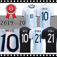 camisetas de futbol uniformes argentina al por mayor-2019 20 Argentina Fútbol Camisas de futbol 19 20 MESSI # 9 # 21 AGUERO Dybala # 11 DI MARIA distancia tamaño uniforme de fútbol S-2XL