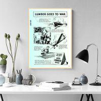 schnelle bilder großhandel-Weinlese-Propaganda-Plakat WW2 1943 ... mehr Holz schnell! Sozialismus Klassische Leinwand Gemälde Vintage Wand Poster Aufkleber Wohnkultur Geschenk