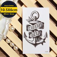 anker-aufkleber-tattoo großhandel-Wasserdichter temporärer Tätowierung-Aufkleber Viking Sailor Cultural Anchor Rudder Design Flash Tattoo Body Art Fake Tattoo Sticker