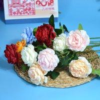 peônia vermelha artificial venda por atacado-Rosa Flores Artificiais 3 Cabeças Peônias Brancas Flores De Seda Vermelho Rosa Azul Flor Falsa Decoração de Casamento para Casa Peônia Buquê 60 CM de comprimento