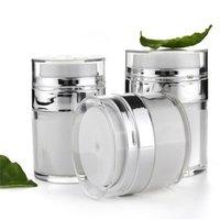 makeup airless pumpenbehälter großhandel-15 ml 30 ml 50 ml Airless Acryl Cremetopf Runde Vakuum Sahneflasche Kosmetik Makeup Gläser Nachfüllbare Behälter Lotion Pumpe
