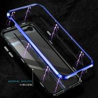закаленное стекло для галактики samsung a8 оптовых-Магнитная адсорбция для Samsung Galaxy A30 50 Закаленное стекло Металлический корпус A8 Plus A7 A9 2018 крышка