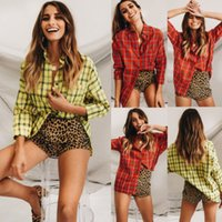 check shirts mode großhandel-Neue Arriavl Frauen Plaid Bouse Shirt Langarm Lose Bluse Mode Tops Shirt Damen Casual Check Plaid Beiläufige Knopfbluse