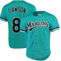 florida jerseys großhandel-Andre Dawson Jersey - Florida - Marlins - grüne Mitchell Ness - Cooperstown - Kollektion - Mesh - Baseballschläger für Übungsjacken