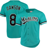 camisetas de práctica de béisbol al por mayor-Andre Dawson Jersey Florida Marlins Green Mitchell Ness Fashion Cooperstown Collection Mesh Batting Practice Jerseys de béisbol Envío gratis