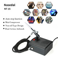 Wholesale nail art painting brush kits resale online - Nasedal Airbrush Compressor Kit Auto Stop function Mini Compressor Dual Action Air Brush Spray gun for Art Painting Nail Tattoo