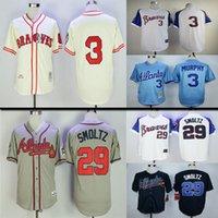 ingrosso maglie di ritorno di alta qualità-jersey # 3 Dale Murphy # 29 pullover di baseball John Smoltz di ritorno al passato di alta qualità Atlanta Braves # delle donne degli uomini della Gioventù per bambini