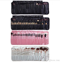 Wholesale full make up bag resale online - 32pcs Set Professional Makeup Brushes Portable Full Cosmetic Make up Brushes Tool Foundation Eyeshadow Lip brush with PU Bag DHL free
