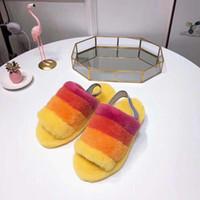 sandal terlik modeli toptan satış-Yeni Renk Modeli Sıcak Kadınlar Kürklü Terlik Güzel Kabartmak Evet Slayt Kapalı Ayakkabı Çizmeler Moda Lüks Tasarımcı Kadın Sandalet Kürk Slaytlar terlik
