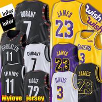 camisa de basquete durant venda por atacado-Net Kevin Durant 7 Jersey LeBron James 23 Jersey 11 Kyrie Irving Jerseys Anthony 3 Davis Basquete Jerseys 72 Preto Biggie