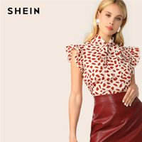 ingrosso camicia sleeveless rossa-SHEIN Elegant Red Bow Tie Neck Ruffle Trim Petal Stampa Top Camicetta Donna Summer 2019 Office Lady Workwear Sleeveless Camicette