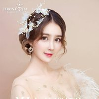 Wholesale wedding fedoras resale online - HIMSTORY Handmade Bridal Wedding Fedoras Hair Jewelry Flower Silk Yarn Headpieces Wedding Accessories Beautiful Hat Headwear