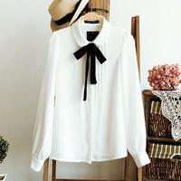 korece zarif kadın ofis modası toptan satış-Fashion-2018 Kore Kadınlar Zarif Papyon Beyaz Bluzlar Şifon Casual Gömlek Ofis Bayanlar Okul Blusas Kadın Giyim Tops