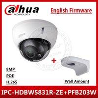 dahua mount toptan satış-Dahua Orijinal IPC-HDBW5831R-ZE 4 K 8MP POE 2.7mm ~ 12mm motorlu IR50m IP67 1K10 Güvenlik Kamera SD logo Duvara Monte PFB203W