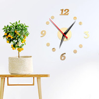 Wholesale acrylic mirror clock for sale - Group buy DIY Clock Style Wall Sticker Mute Clock Wall Art Decal for Home Office J2Y