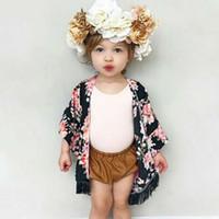 тонкие цветочные кардиганы оптовых-Летний детский кардиган куртки для девочек малыша ребенка девушка тонкая цветочная кисточка кардиган чехол от солнца комбинезон кимоно с длинным рукавом одежда