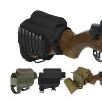 mermi poposu toptan satış-Naylon Taşınabilir Ayarlanabilir Taktik Butt Stok Tüfek Avcılık çanta Yanak Istirahat Kılıfı Bullet Tutucu Çanta # 48395