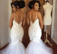 sereia casamento vestidos rendas flores venda por atacado-2018 Sereia Vestidos De Noiva Cintas De Espaguete Flores 3D Applique Lace Beads Pérolas Querida Capela Trem Baixo V de Volta Árabe Vestidos de Noiva