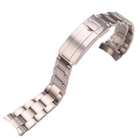 armband endband für uhren großhandel-20mm 316L Edelstahlarmbänder Armband Silber gebürstetem Metall gebogenes Ende Ersatz Link Faltschließe Uhrenarmband