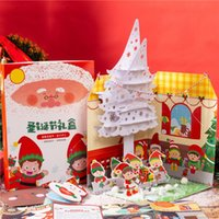 Wholesale kindergarten crafts resale online - DIY Kindergarten Children Handmade Craft Gift Christmas Decoration with Light for Home Supplies New Year Christmas Gifts Box